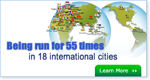 Being run for 55 times in 18 international cities