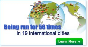 Being run for 56 times in 19 international cities
